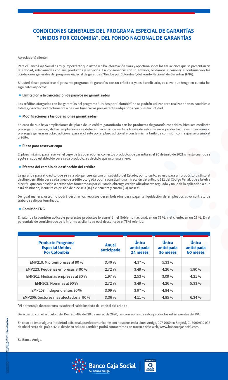 Condiciones Programa Unidos por Colombia - FNG