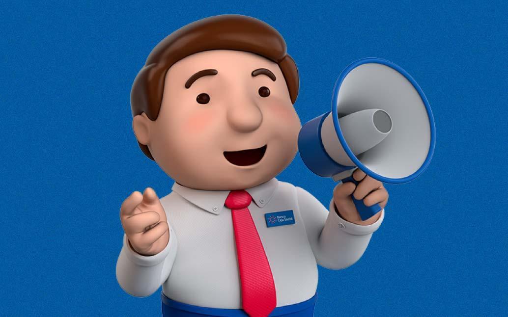 Buen Vecino con megáfono en mano, comunicando la facilidad para manejar el dinero.