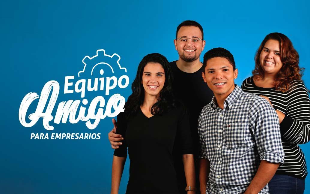 Imagen grupo de empleados, logotipo Equipo Amigo