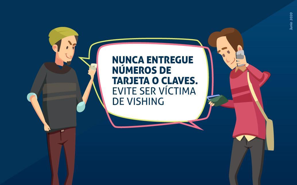 Gráfica de dos hombres uno de ellos habla por celular el otro le da un consejo sobre Vishing